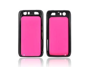 Motorola Atrix HD Hard Back Case W/ Gummy Crystal Silicone Lining - Hot Pink/ Black