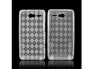 Motorola Droid RAZR M Crystal Rubbery Feel Silicone Skin Case Cover - Argyle Clear