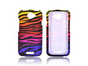 HTC One S Rubberized Hard Plastic Case Snap On Cover - Rainbow Zebra On Black