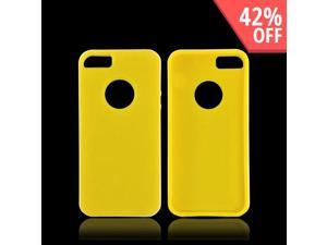 Apple Iphone 5 Crystal Rubbery Feel Silicone Skin Case Cover W/ Bumper - Yellow/ White
