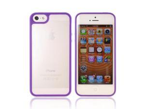 Apple Iphone 5 Hard Plastic Case Snap On Cover W/ Gummy Silicone Border - Purple/ Frost White