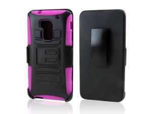 Black Hard Case w/ Stand on Hot Pink Silicone Skin Case w/ Holster HTC One Max