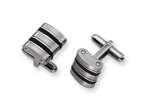 Black Rubber Cuff Links in Stainless Steel