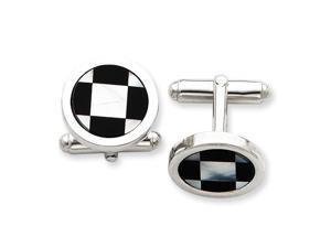 Mother of Pearl Black Cuff Links in Sterling Silver