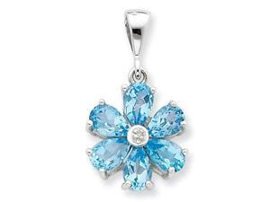 Blue Topaz Diamond Flower Pendant in Sterling Silver