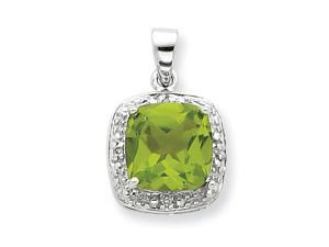 Peridot Diamond Pendant in Sterling Silver
