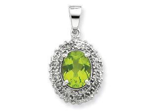 Peridot Diamond Pendant in Sterling Silver