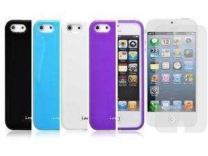 Ionic 4 SLIM FLEX Cases with Screen Protector for Apple iPhone 5 (Black/Blue/Purple/White)