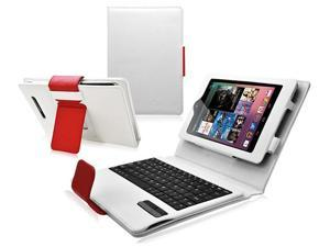 Bluetooth Keyboard Stand Leather Case -White/Red