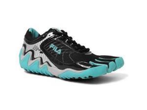 Fila Women s Skele-Toes Turbo Shoe,Black/Metallic Silver/Scuba Blue,8