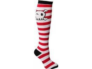 Sock It To Me Pirate Skull (Red)Striped Knee High Socks