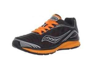 Saucony Kinvara 3 Running Shoe (Little Kid/Big Kid),Black/Silver/Orange,5 M US Big Kid