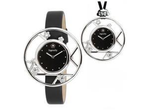 Ingenuity Women's Jewelry Watch w/ 2 interchangeable leather straps & 1 necklace, Plum Blossoms design