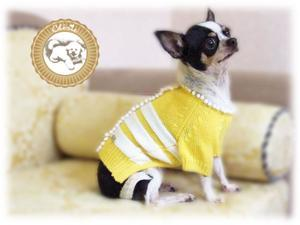 Chérie Adorable Knitted Sweater for Pets Color Yellow Matches with White Strips and Little White Balls -XXS