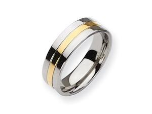 Genuine Chisel (TM) Band. Titanium 14k Gold Plated 7mm Polished Band ( Size 8)