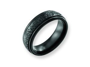 Genuine Chisel (TM) Band. Titanium Hammered Black 7mm Band ( Size 7)