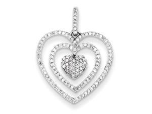 Genuine .925 Sterling Silver Diamond Heart Pendant 1.2 Grams.