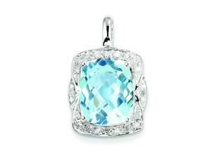 Genuine .925 Sterling Silver Diamond Blue Topaz Pendant 2.4 Grams.