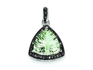 Genuine .925 Sterling Silver Green Quartz And Diamond Pendant 2.2 Grams.