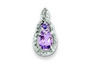 Genuine .925 Sterling Silver Diamond & Pink Amethyst Teardrop Pendant 1.4 Grams.