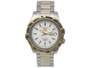 Seiko Automatic Sports Men's Watch with a 2 Tone Bracelet and White Dial - SRP142
