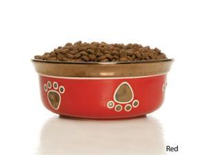 Ritz Copper Rim Ceramic Dog Dish - Red 10""