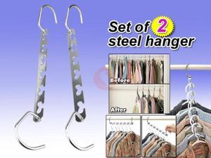 Set of 2 Stainless Steel Hanger Cascaders / Space Saving Clothes Belts Ties Rack for Household Purposes