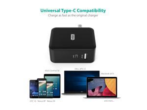 USB Type-C RAVPower 36W Dual USB C Wall Charger with 1 Power Delivery Port for MacBook, Dell XPS 13, Nexus 5X/ 6P and iSmart for iPhone, iPad, Samsung and More