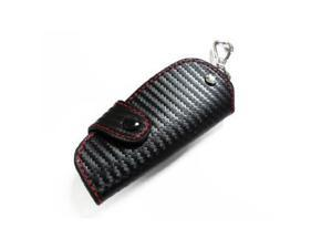 "iJDMTOY 3D Carbon Fiber Pattern Genuine Leather Remote Smart Key Holder FOB (4.3"" x 1.9"")"