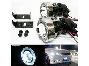 iJDMTOY Universal Fit HID Ready Optical Projector CCFL Halo Angel Eyes Fog Light Lamps