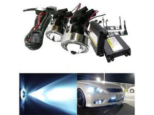 iJDMTOY Universal CCFL Angel Eyes Projector Fog Light Lamps with 10000K Deep Blue White HID Conversion Kit