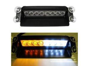 iJDMTOY Amber White 8-LED Emergency Vehicle Dash Warning Strobe Flashing Light (3 Flashing Mode)
