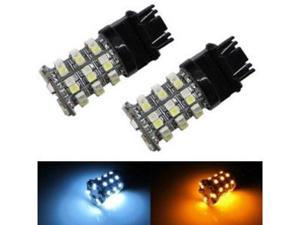 iJDMTOY 60-SMD White/Amber 3157 3357 3457 4157 Switchback LED Bulbs For Front Turn Signal Lights, Corner Lights