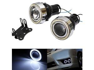 "iJDMTOY Universal 3"" Projector Fog Light Lamps with 40-LED Halo Angel Eyes Rings For Car"