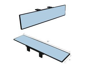 JDM 300mm Wide Anti-Glare Blue Tint Flat Clip On Rear View Mirror - Fit All Car