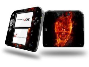 Flaming Fire Skull Orange - Decal Style Vinyl Skin fits Nintendo 2DS - OEM