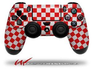 Checkered Canvas Red and White - Decal Style Wrap Skin fits Sony PS4 Dualshock 4 Controller - CONTROLLER NOT INCLUDED