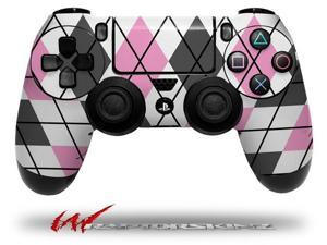 Argyle Pink and Gray - Decal Style Wrap Skin fits Sony PS4 Dualshock 4 Controller - CONTROLLER NOT INCLUDED