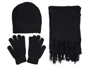 2 Pcs Bulk Wholesale Lot - Unisex Trendy Knitted Beanie Hat Scarf and Gloves Set with a Gift Bag
