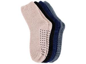 Simplicity Women's Fuzzy Antiskid Socks Hospital Slipper Socks, 4 Pairs