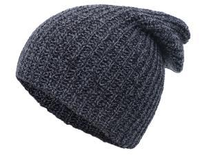 Unisex Winter Warm Stretchy Cable Knit Slouchy Beanie Hat Skull Cap, Black/Gray
