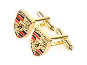 Porsche Design Driver Selection Gold Plated Crest Cuff Links Set