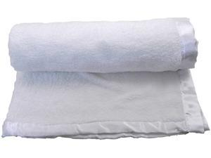 Wholesale Pack of 2 Deluxe Solid Color Plush Infant Baby Blanket Throw with Satin Whip Trim Holiday Sale - White