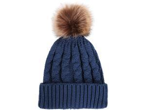 Women Men Winter Warm Hand Knitted Faux Fur Pom Beanie Hat Bobble Ski Skull Cap