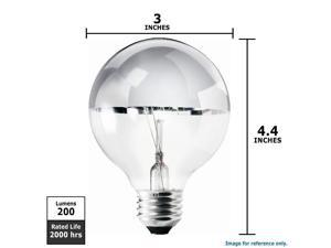 PHILIPS 40W 120V G25 E26 Decor Duramax Incandescent Silver Bowl  Bulb