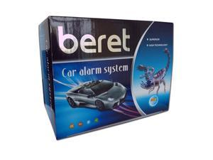 Beret Car Alarm System with 2 Remotes, Shock Sensor, and Keyless Entry Security