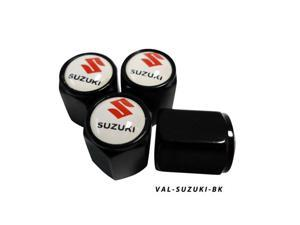 AGT Aluminum Black Valve Caps Tire Cap Stem for Suzuki Wheels (Pack of 4)