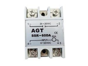 60A AGT SSR Solid State Relay 3-32V DC 24-380V AC 24V-380VDC - OEM