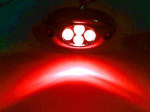 Red 4 LED Pod Light Strip Module Chrome Housing 12V DC Accent Lighting (Pack of 4)