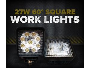 27W Square LED Light Flood 60 Degree White 12V (Pair)